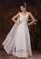 V-neck Straps Watteat Train Beaded Prom Dress with Bow
