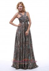 V-neck Zebra Printing Prom Evening Dress Beaded