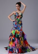 Multi-color All Fabrics Corset Back Mermaid Prom Celebrity Gown