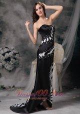 Column Brush Black Zebra Prom Celebrity Dress with Beading