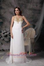 White V-neck Straps Brush Chiffon Wedding Dress Beaded