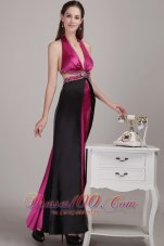 Two-toned V-neck Halter Beaded Prom Dress