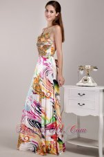 Spaghetti Straps Floral Printing Prom Celebrity Gown Beaded