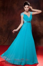 Cap Sleeves V-neck Turquoise Prom Dress Button Back