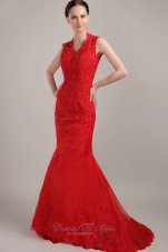 Lace Mermaid Red Prom Celebrity Dress with Peekaboo Keyhole
