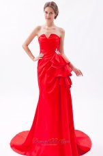 Notched Neck Red Prom Dress Ruched Around 150