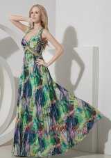 Printed Colorful Evening Maxi Dress Straps Sweetheart Crossed Back