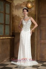 White Straps Beaded V-neck Prom Celebrity Dress for Sale