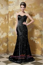 Black Sweetheart Brush Train Taffeta Sequins Prom Dress