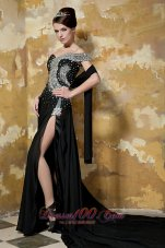 Black Asymmetrical Shoulder Chapel Train Chiffon Prom Celebrity Dress
