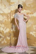 Light Pink One Shoulder Low Back Beading Prom Celebrity Dress
