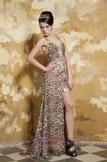 Colorful Halter Cross Back Leopard Beading Prom Dress Slit