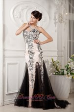 Champagne and Balck Evening Celebrity Dress Sweetheart Appliques