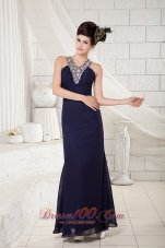 Navy Blue V-neck Evening Dress Cross-back Ankle-length