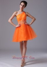 Orange One Shoulder Mini-length Cocktail Dress Asymmetrical