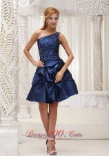 Navy Blue Homecoming Dress For 2013 One Shoulder