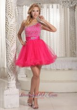One Shoulder Sweet Prom / Cocktail Dress in Hot Pink