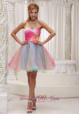 Ombre Color Prom Party Dress 2013 Hand Flower Sweetheart