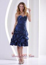 Navy Blue Pick-ups knee-length Prom Dress