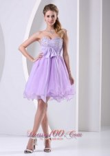 Pretty Lilac Dress for Prom Holiday Knee-Length with Sash