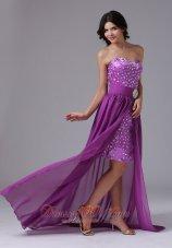 High-Low Detachable Rainestones Prom Cocktail Dress