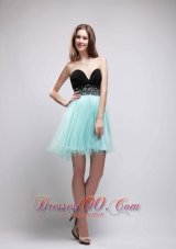 Black and Apple Green Mini-Length Prom Party Dress