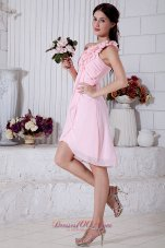 Light Pink Short Dress for Prom Graduation Floral One Shoulder