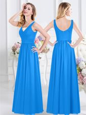 Wonderful Floor Length Baby Blue Court Dresses for Sweet 16 V-neck Sleeveless Zipper