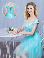 Customized Off the Shoulder Aqua Blue Tulle Lace Up Wedding Party Dress Cap Sleeves Knee Length Lace and Appliques and Bowknot