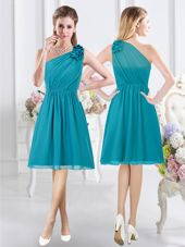 Exceptional One Shoulder Knee Length Empire Sleeveless Teal Bridesmaid Dress Side Zipper