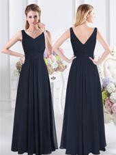 Navy Blue V-neck Zipper Ruching Bridesmaids Dress Sleeveless