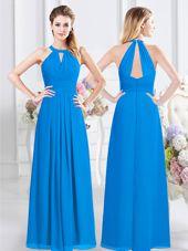 Baby Blue Empire Halter Top Sleeveless Chiffon Floor Length Zipper Ruching Dama Dress for Quinceanera
