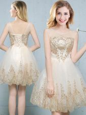 Romantic Scoop Sleeveless Tulle Bridesmaids Dress Appliques Lace Up