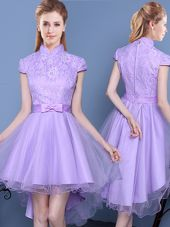 Suitable Lace and Bowknot and Belt Quinceanera Court of Honor Dress Lavender Zipper Short Sleeves High Low