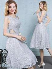 New Arrival Scoop Knee Length Empire Sleeveless Grey Wedding Party Dress Lace Up