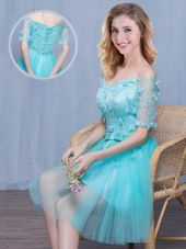 Off the Shoulder Aqua Blue Tulle Lace Up Vestidos de Damas Short Sleeves Knee Length Lace and Appliques and Bowknot