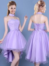Lace and Bowknot Vestidos de Damas Lavender Lace Up Sleeveless High Low