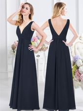 Modern Navy Blue Bridesmaid Dresses Prom and Party and For with Ruching V-neck Sleeveless Backless