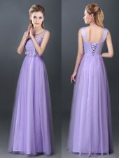 Scoop Sleeveless Lace Up Bridesmaid Dress Lavender Tulle