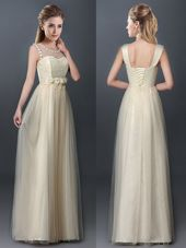 Nice Scoop Champagne Sleeveless Tulle Lace Up Quinceanera Court of Honor Dress for Prom and Party and Wedding Party