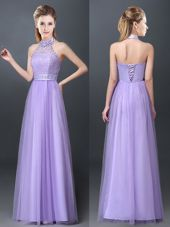 Lavender Tulle Lace Up Halter Top Sleeveless Floor Length Vestidos de Damas Lace and Appliques