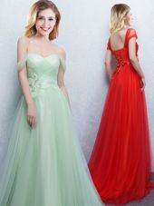 Fancy Apple Green Tulle Lace Up Off The Shoulder Sleeveless With Train Bridesmaid Dress Brush Train Appliques and Ruching