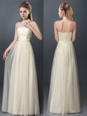 Deluxe Halter Top Floor Length Lace Up Wedding Guest Dresses Champagne and In for Prom and Party and Wedding Party with Lace and Appliques