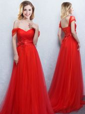 New Style Off the Shoulder Red Sleeveless Tulle Brush Train Lace Up Wedding Guest Dresses for Prom and Party and Wedding Party