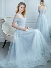 Off the Shoulder Floor Length Light Blue Bridesmaid Dress Tulle Cap Sleeves Beading and Appliques