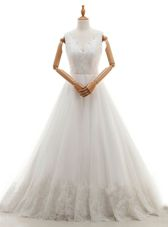 Beautiful V-neck Sleeveless Wedding Gowns With Train Court Train Lace and Appliques White Organza and Tulle