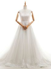 Excellent White A-line Sweetheart Sleeveless Tulle With Train Court Train Clasp Handle Appliques Wedding Dress