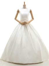 Suitable Floor Length White Bridal Gown Satin Sleeveless Ruching