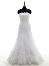 Clearance Lace Strapless Sleeveless Clasp Handle Lace Wedding Gowns in White