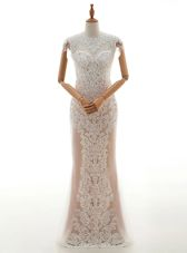 High-neck Cap Sleeves Wedding Gowns Floor Length Lace Champagne Lace